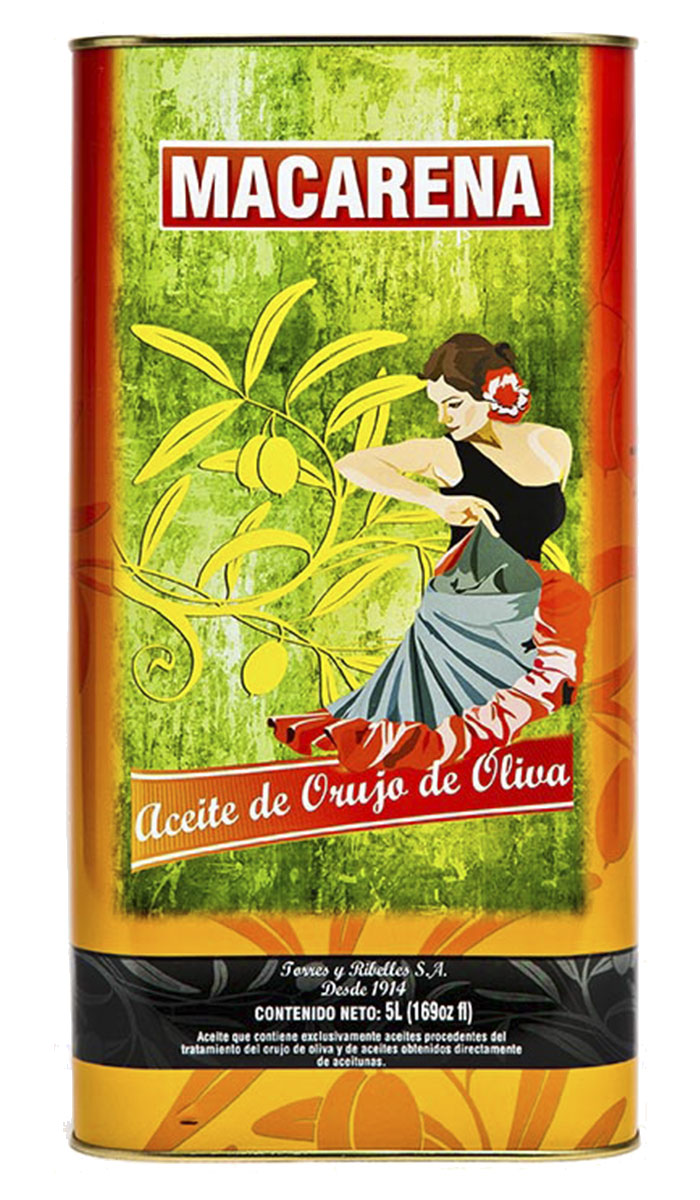 Bandeja de 4 latas de 5 L de aceite de orujo de oliva MACARENA