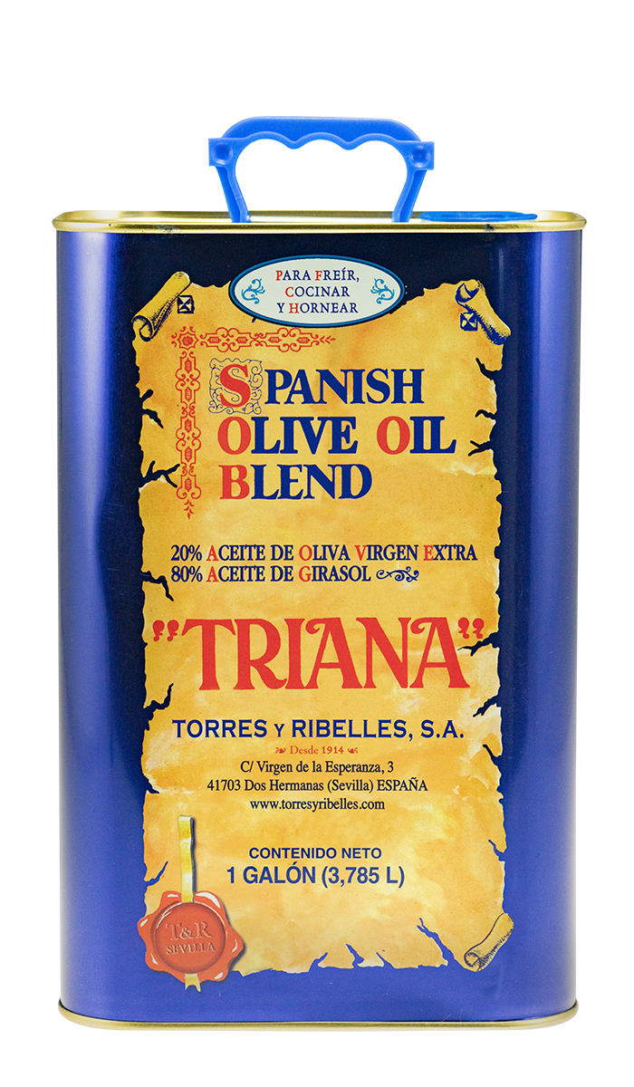 """Shrink-wrap tray of 4 tins of 1 G (3,785 L) of TRIANA """"Spanish Olive Oil Blend"""""""