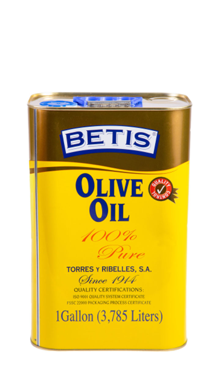Shrink-wrap tray of 4 tins of 1 G (3,785 L) of BETIS olive oil