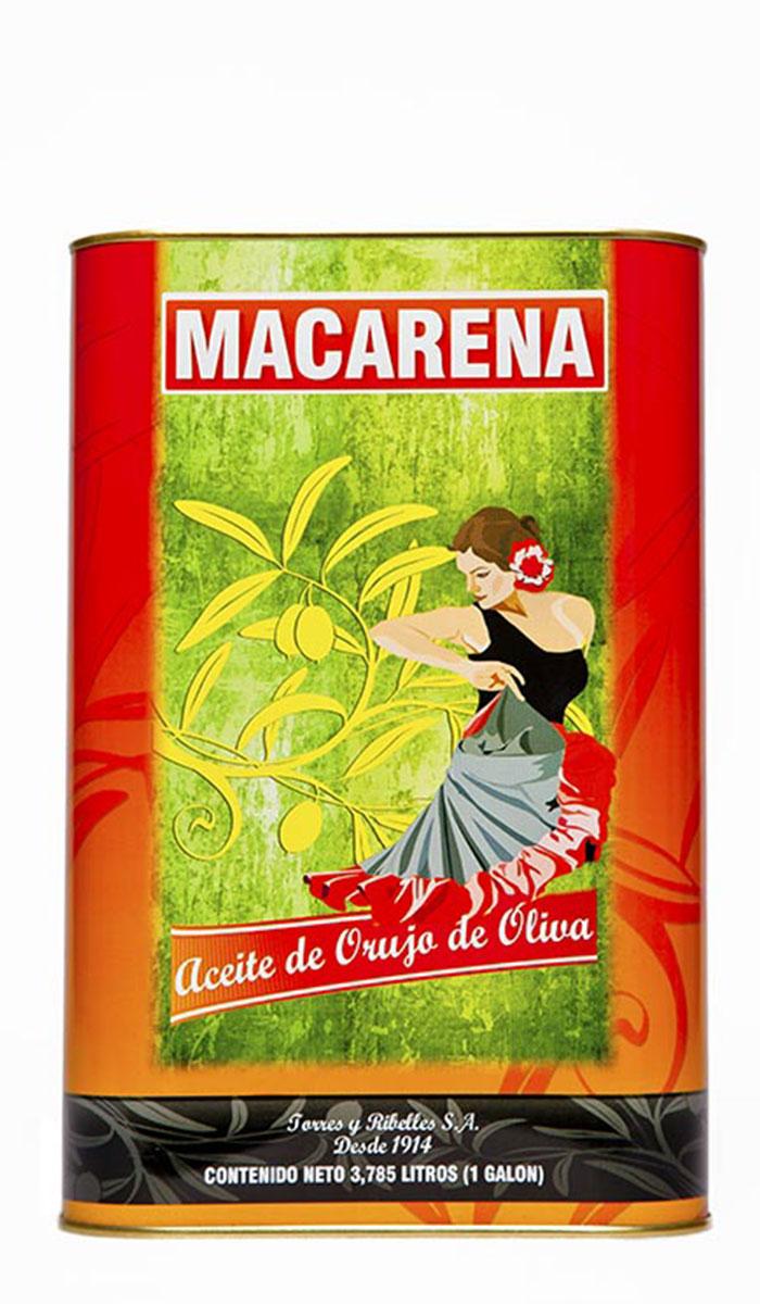 Shrink-wrap tray of 4 tins of 1 G (3,785 L) of MACARENA olive-pomace oil