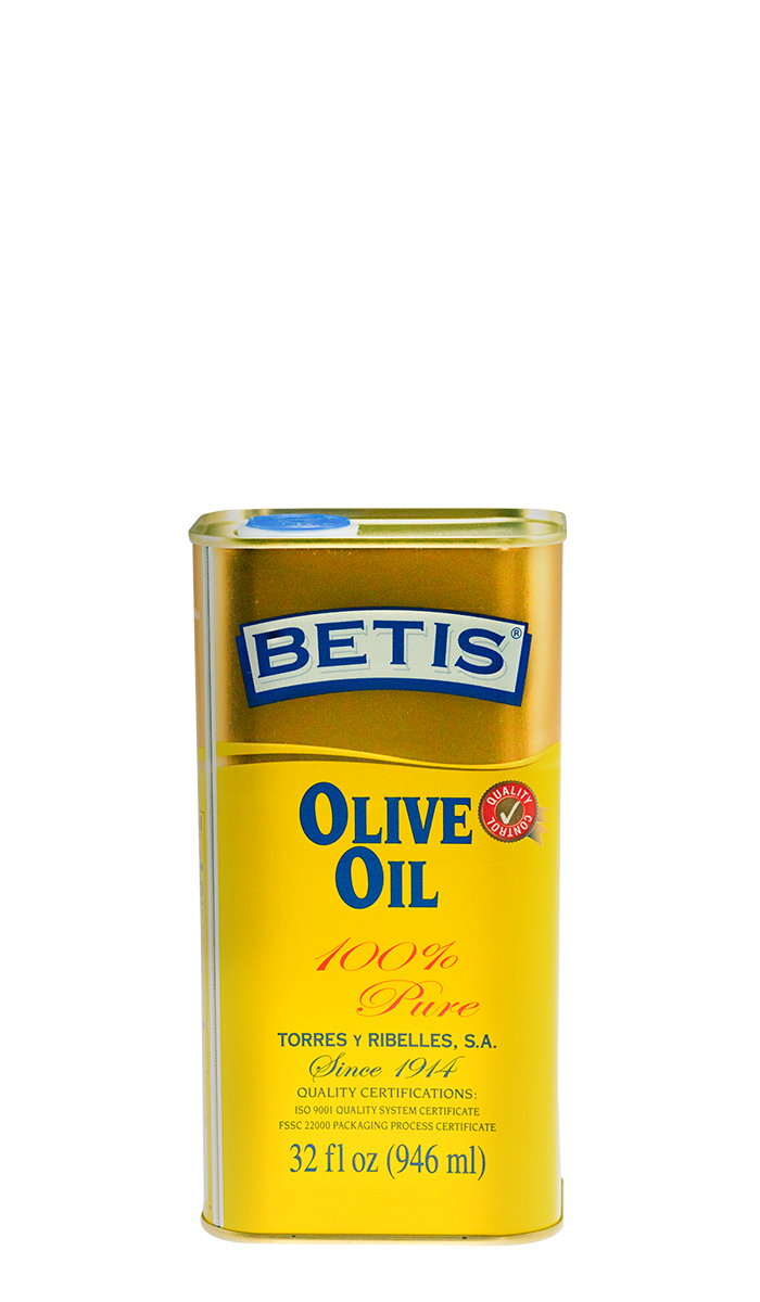 Bandeja de 12 latas de 1/4 Galon  (946 ml) de aceite de oliva BETIS