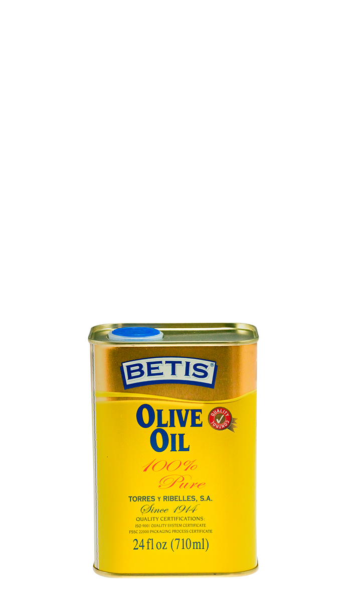 Shrink-wrap tray of 12 tins of 24 fl oz (710 ml) of BETIS olive oil