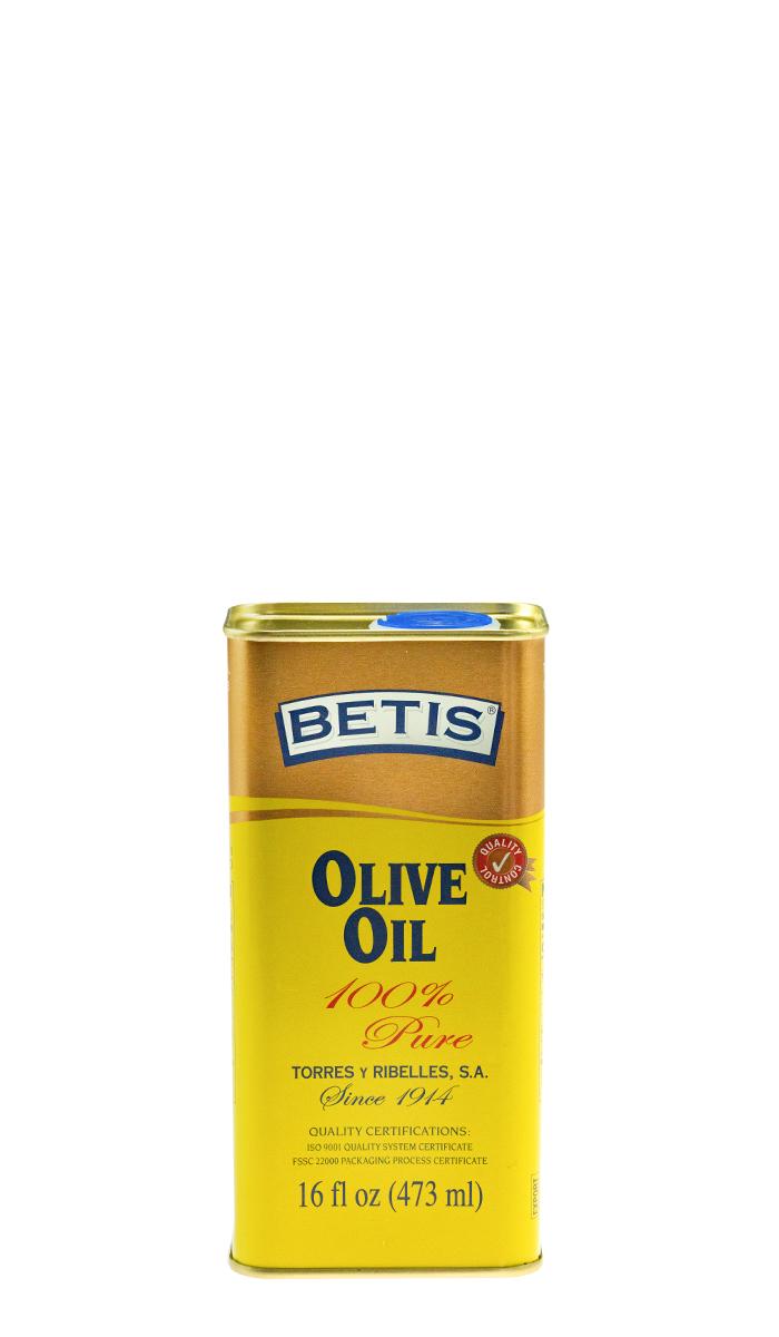 Bandeja de 25 latas de 1/8 Galon (473 ml) de aceite de oliva BETIS