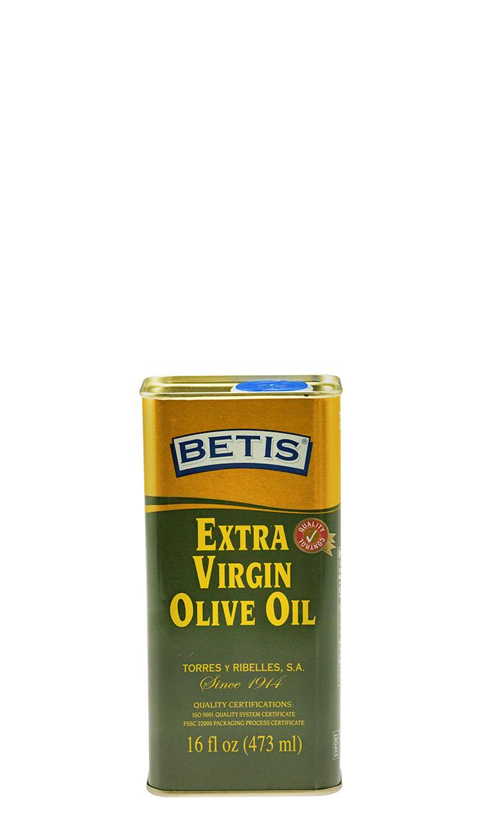 Bandeja de 25 latas de 1/8 Galon (473 ml) de aceite de oliva virgen extra BETIS