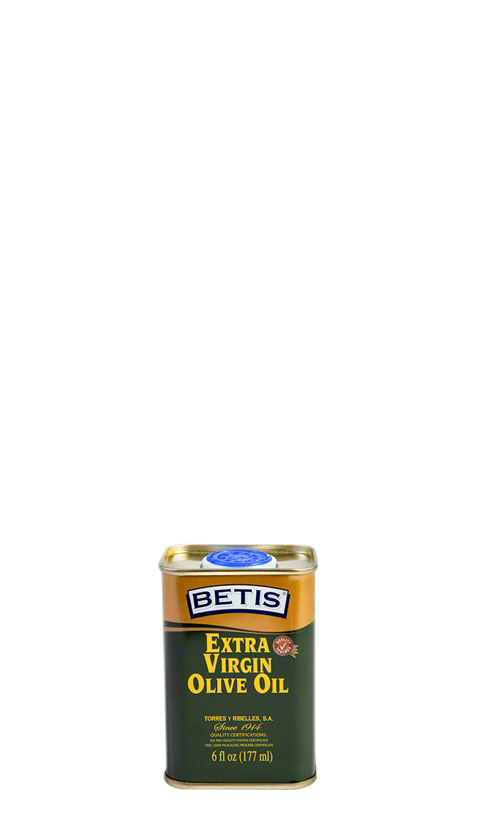 Shrink-wrap tray of 25 tins of 6 fl oz (177 ml) of BETIS extra virgin olive oil
