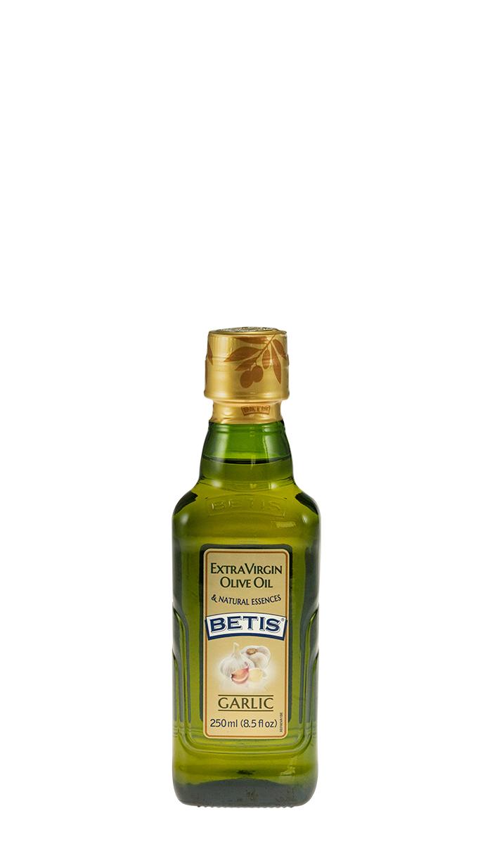 Caja de 24 botellas vidrio de 250 ml de aceite de oliva virgen extra BETIS y esencia natural de ajo