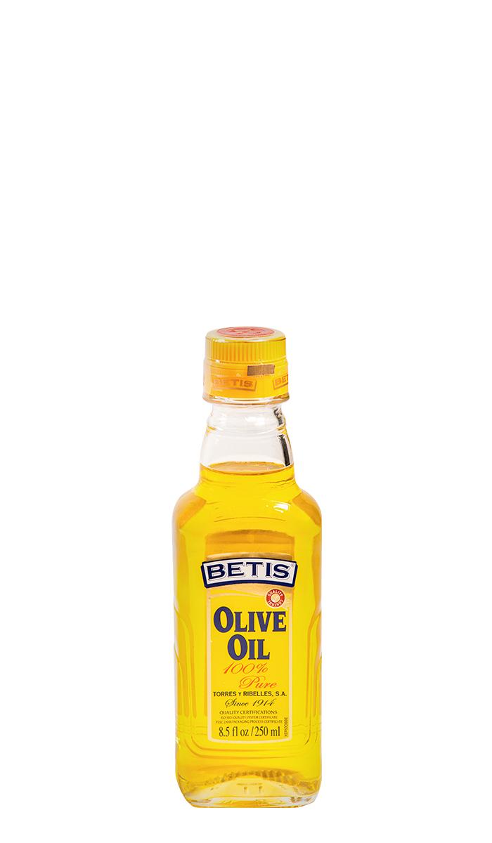 Caja de 24 botellas vidrio de 250 ml de aceite de oliva BETIS