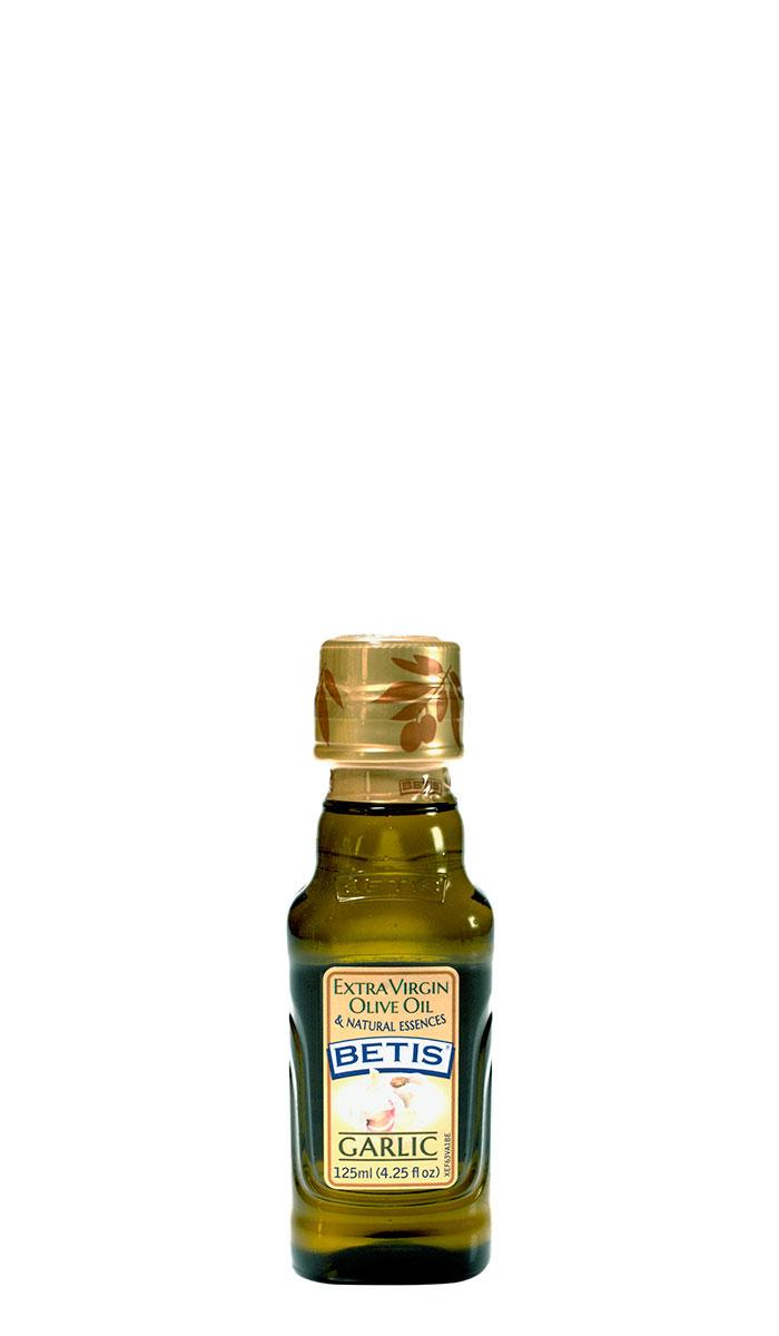 Caja de 24 botellas vidrio de 125 ml de aceite de oliva virgen extra BETIS y esencia natural de ajo