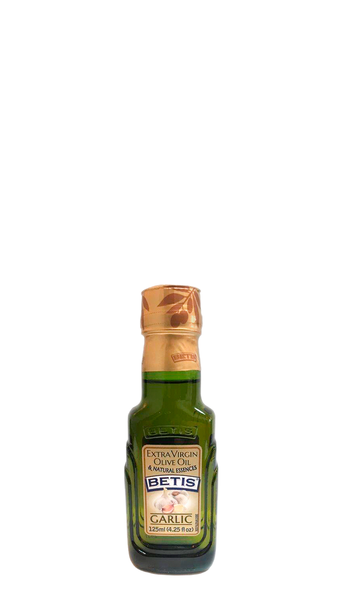 Case of 24 glass bottles of 125 ml of BETIS extra virgin olive oil and Garlic natural essence
