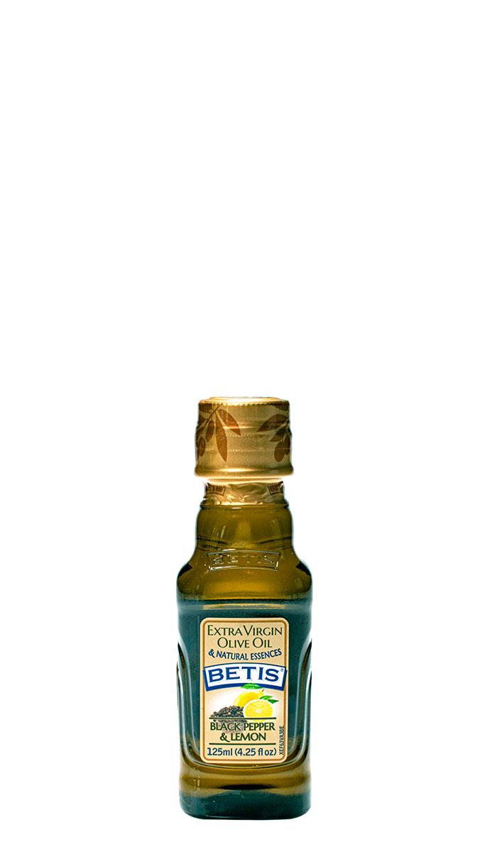 Caja de 24 botellas vidrio de 125 ml de aceite de oliva virgen extra BETIS y esencia natural de pimienta negra y limón
