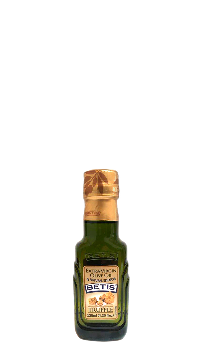 Case of 24 glass bottles of 125 ml of BETIS extra virgin olive oil and Truffle natural essence