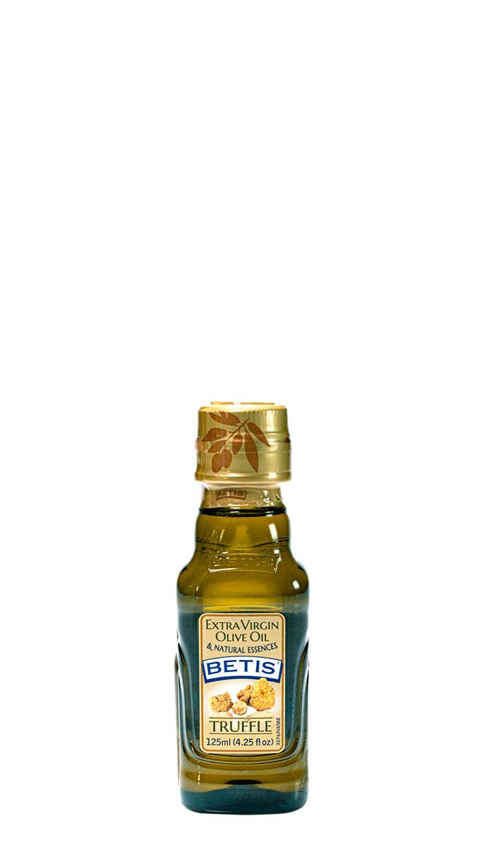 Caja de 24 botellas vidrio de 125 ml de aceite de oliva virgen extra BETIS y esencia natural de trufa