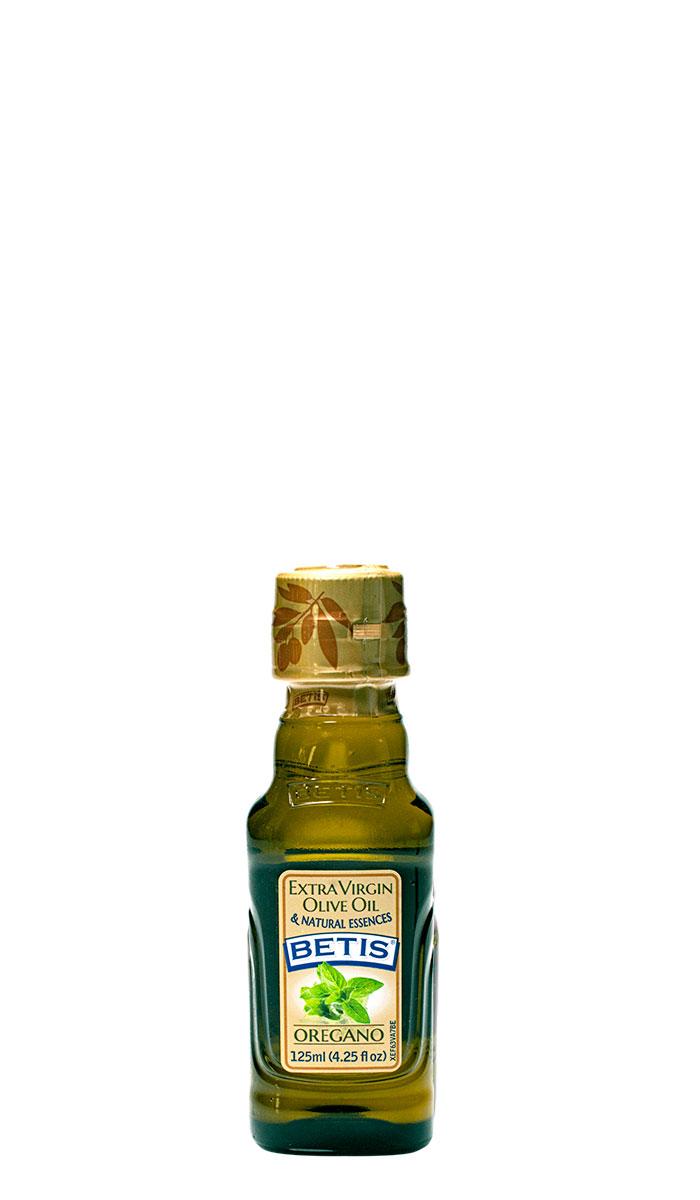Caja de 24 botellas vidrio de 125 ml de aceite de oliva virgen extra BETIS y esencia natural de orégano