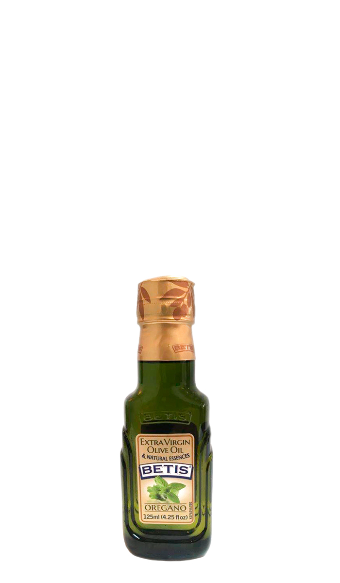 Case of 24 glass bottles of 125 ml of BETIS extra virgin olive oil and oregano natural essence