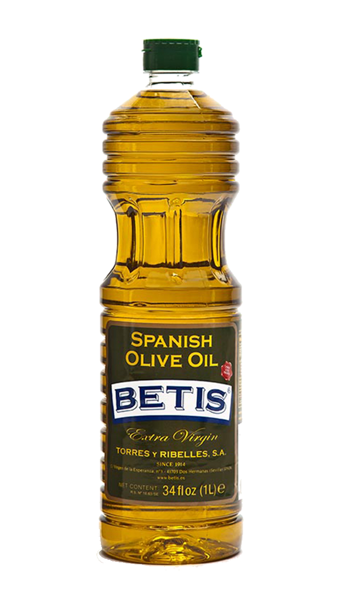 Caja de 15 botellas PET de 1 L de aceite de oliva virgen extra BETIS