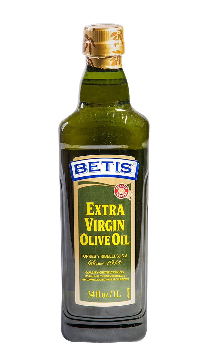 Caja de 12 botellas PET de 1 L de aceite de oliva virgen extra BETIS