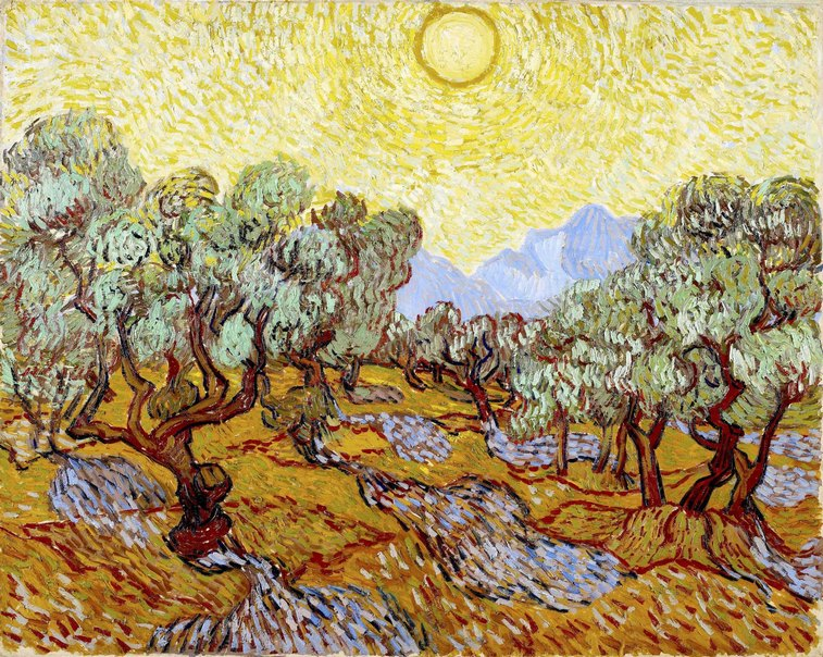 Olivos con cielo amarillo - Vincent Van Gogh-R