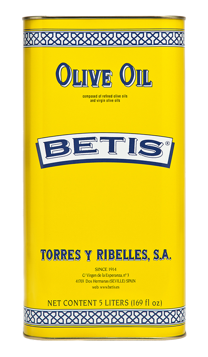 Shrink-wrap tray of 4 tins of 5 L of BETIS olive oil