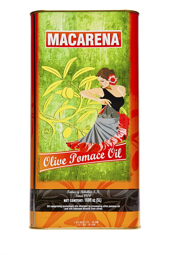Shrink-wrap tray of 4 tins of 5 L of MACARENA olive pomace oil