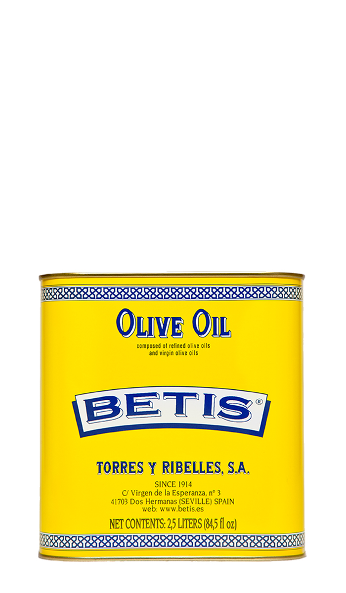 Shrink-wrap tray of 4 tins of 2,5 L of BETIS olive oil