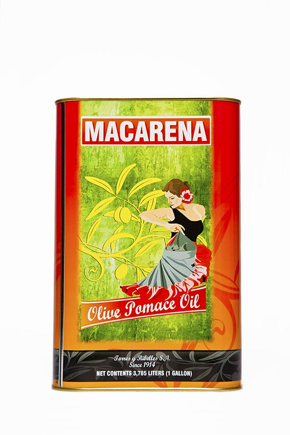 Shrink-wrap tray of 4 tins of 1 G (3,785 L) of MACARENA olive-pomace oil