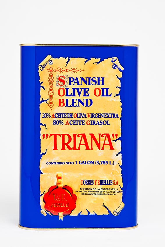 "Shrink-wrap tray of 4 tins of 1 G (3,785 L) of TRIANA ""Spanish Olive Oil Blend"""