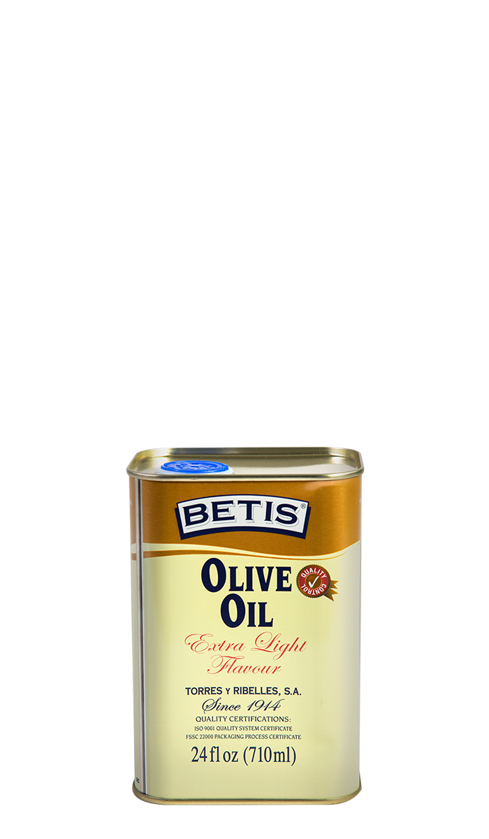 "Shrink-wrap tray of 12 tins of 24 fl oz (710 ml) of ""Extra Light flavour"" BETIS olive oil"
