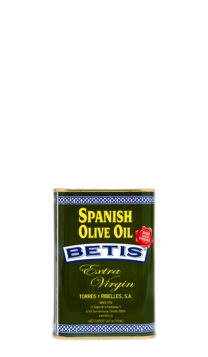 Shrink-wrap tray of 12 tins of 24 fl oz (710 ml) of BETIS extra virgin olive oil