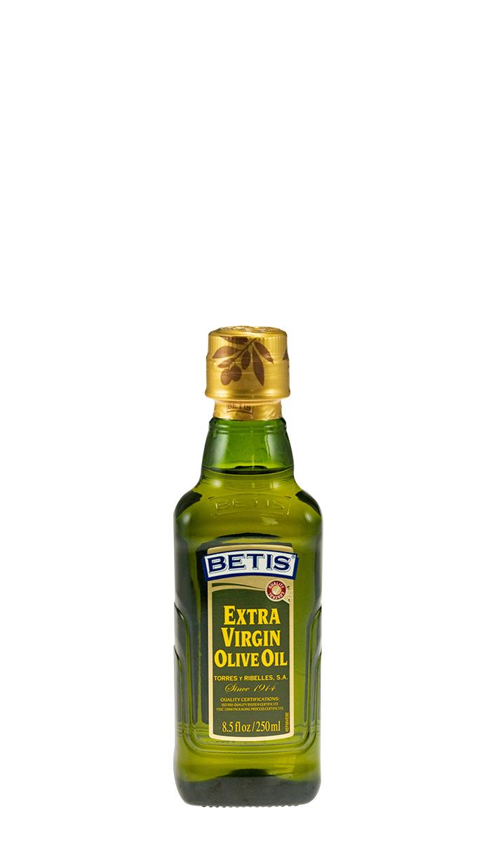 Caja de 24 botellas vidrio de 250 ml de aceite de oliva virgen extra BETIS