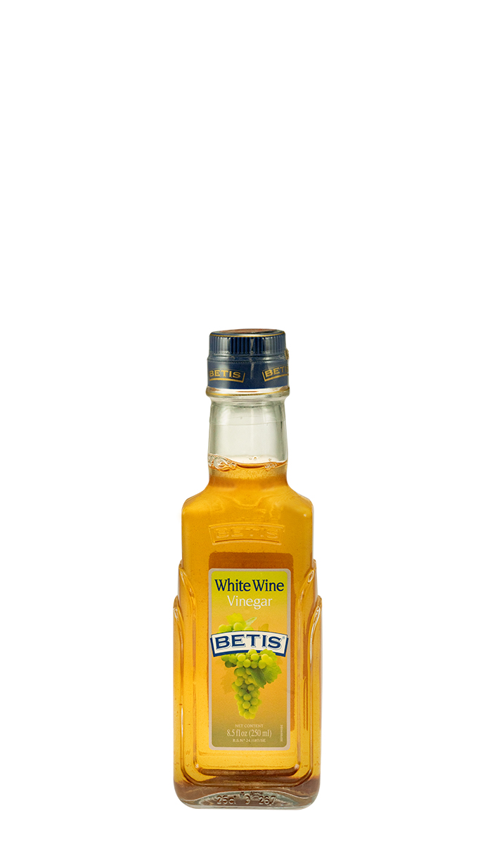 Case of 12 glass bottles of 250 ml of BETIS white wine vinegar