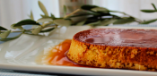 Crème caramel (flan) with extra virgin olive oil
