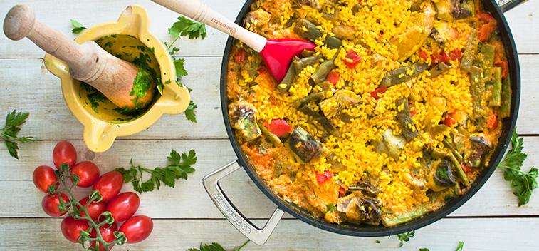 Paella de pollo y verduras aceites betis for Como hacer paella de verduras